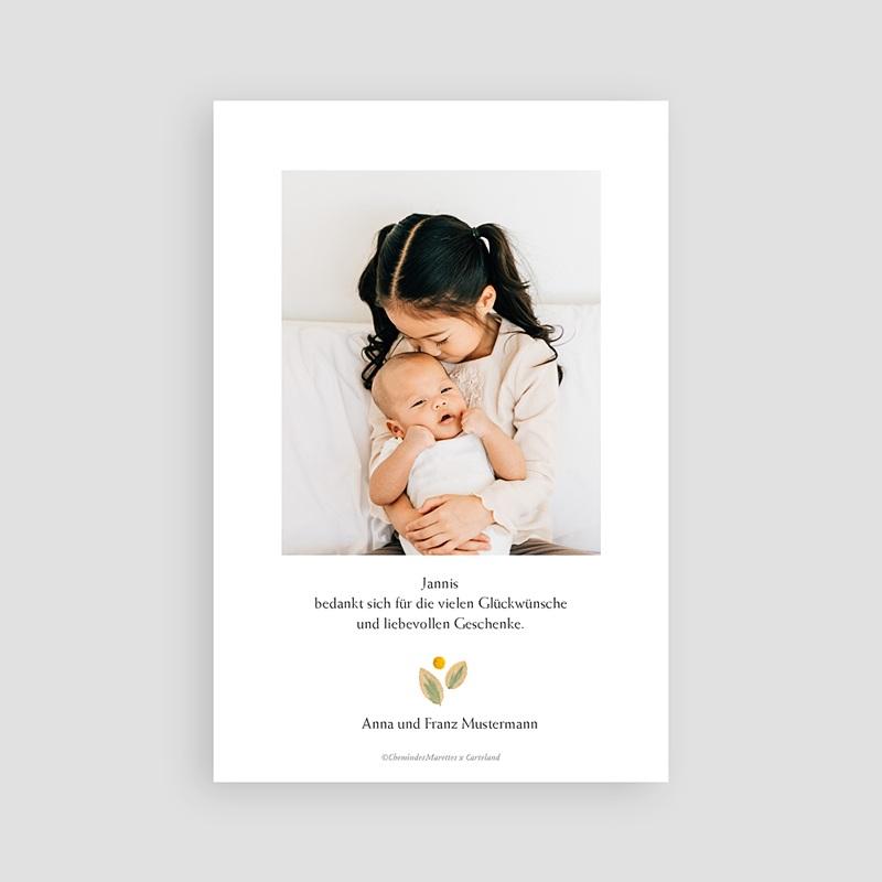 Dankeskarten Geburt für Geschwister Herbarium mit Kornblumen, Porträt pas cher