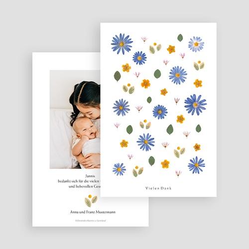 Dankeskarten Geburt für Geschwister Herbarium mit Kornblumen, Porträt gratuit