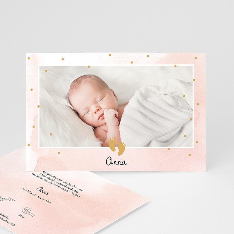 Rosa Geburtskarten Kleine Füße in Rosa und Gold