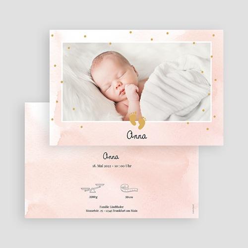 Rosa Geburtskarten Kleine Füße in Rosa und Gold gratuit
