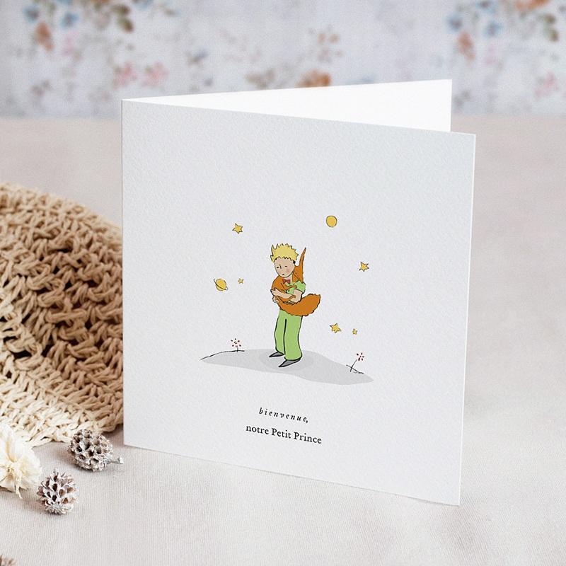 Geburtskarten Der Fuchs des kleinen Prinzen, Klappkarte