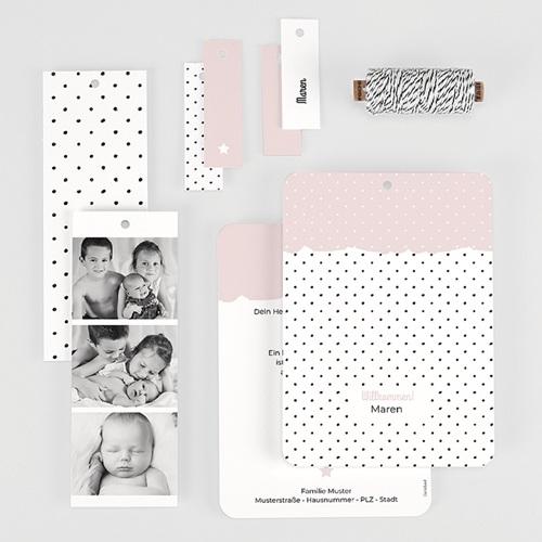 Geburtskarten Pastell-Rosa, 3 in 1 gratuit