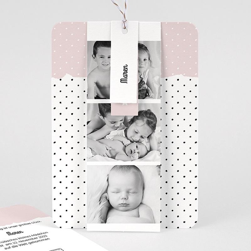 Geburtskarten Pastell-Rosa, 3 in 1