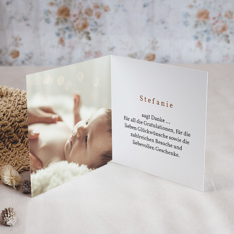 Dankeskarten Geburt 3 Kinder, braun/blond, 9,5 x 9,5 cm pas cher