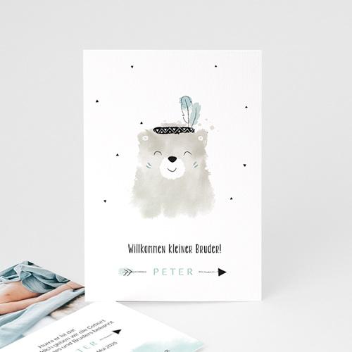 Geburtskarten Kleiner Bruder, Aquarell Bär