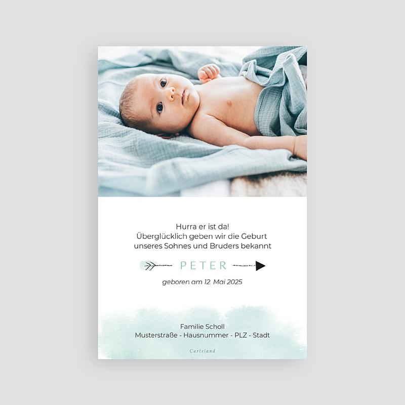 Geburtskarten Kleiner Bruder, Aquarell Bär pas cher