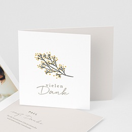 Dankeskarten Geburt - Kleiner Goldzweig, überstehende Klappkarte - 0