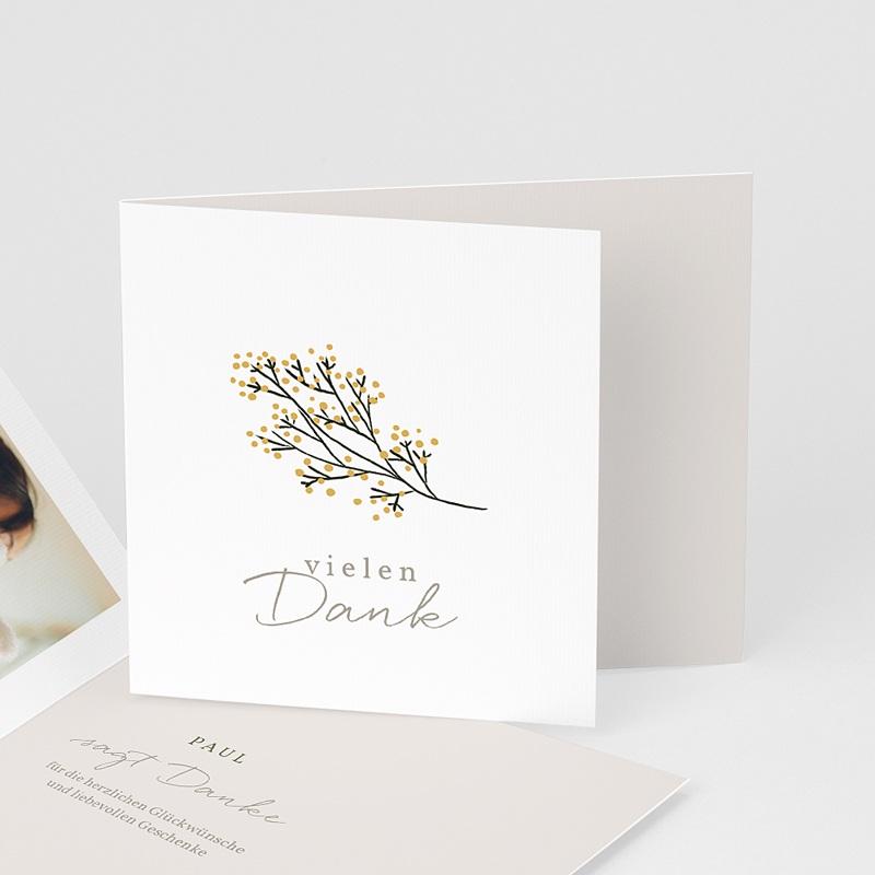 Dankeskarten Geburt Kleiner Goldzweig, überstehende Klappkarte