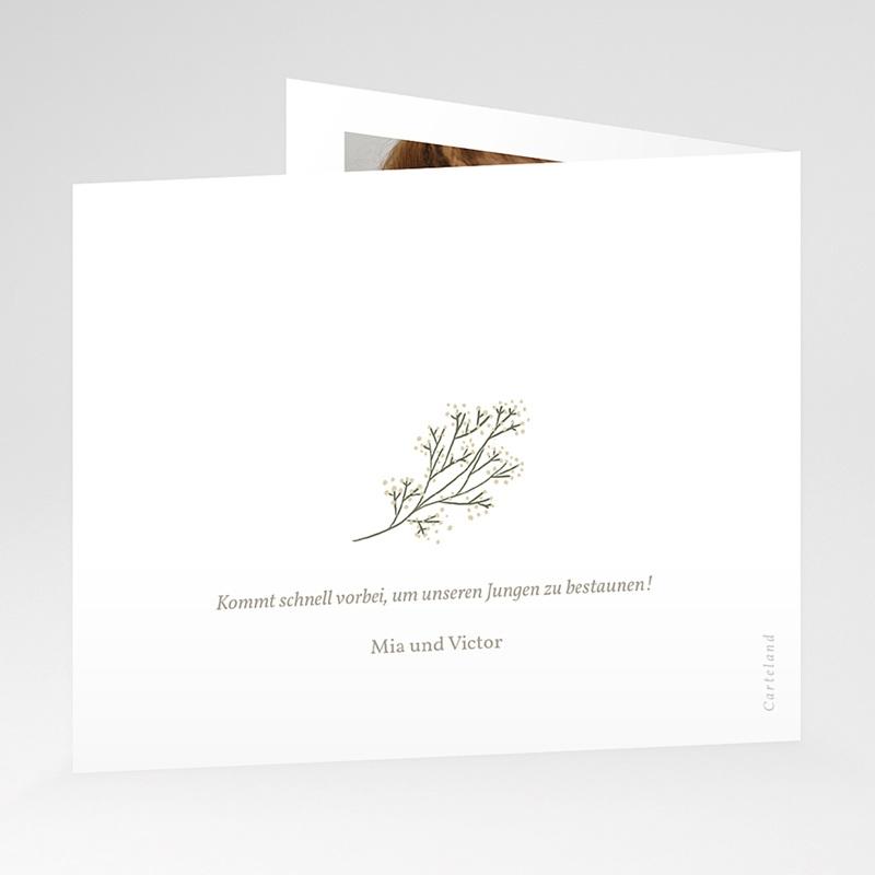 Dankeskarten Geburt Kleiner Goldzweig, überstehende Klappkarte gratuit