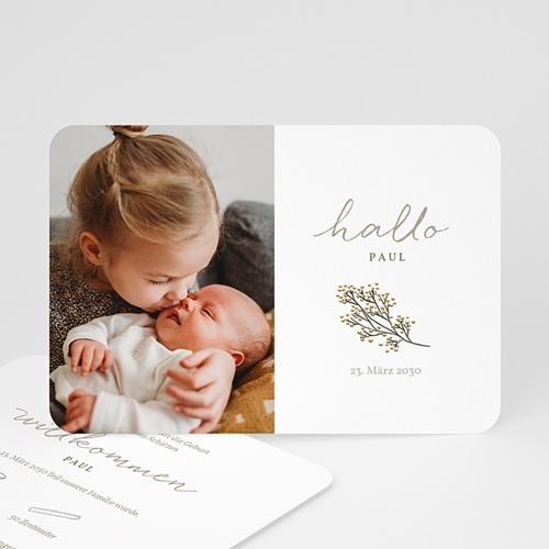 Geburtskarten Hallo, kleiner Goldzweig