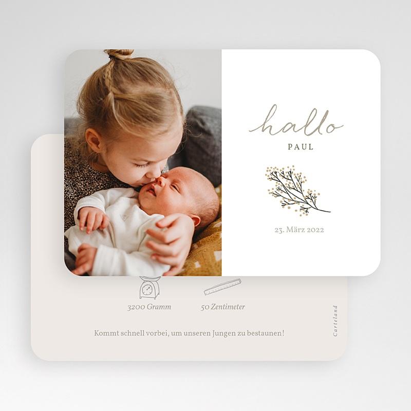 Geburtskarten Hallo, kleiner Goldzweig gratuit