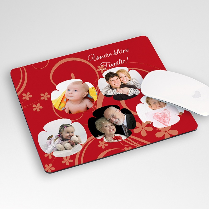 Personalisierte Foto-Mousepad Verpieltes Design rot