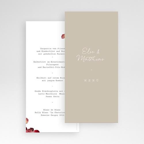 Menükarten Hochzeit Roter Blumenstrauß, Hochzeitsessen pas cher