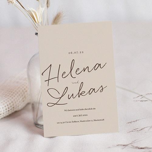 Hochzeitseinladungen Kirschbaum als Silhouette, beige