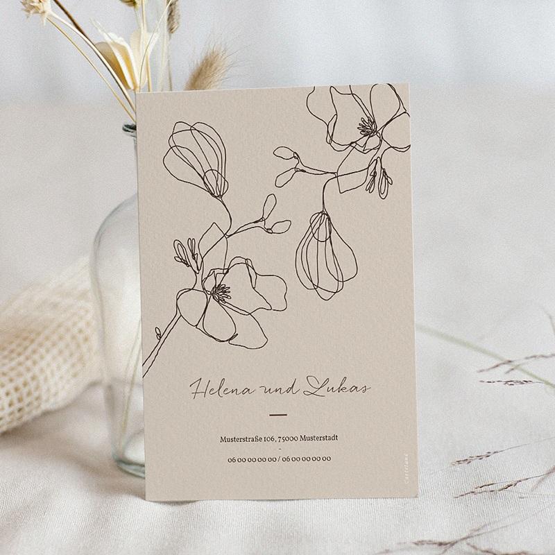 Hochzeitseinladungen Kirschbaum als Silhouette, beige pas cher