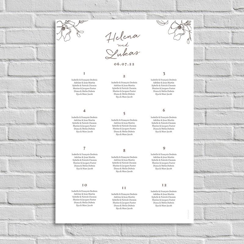 Sitzplan Hochzeit Kirschbaum als Silhouette, Poster Gäste
