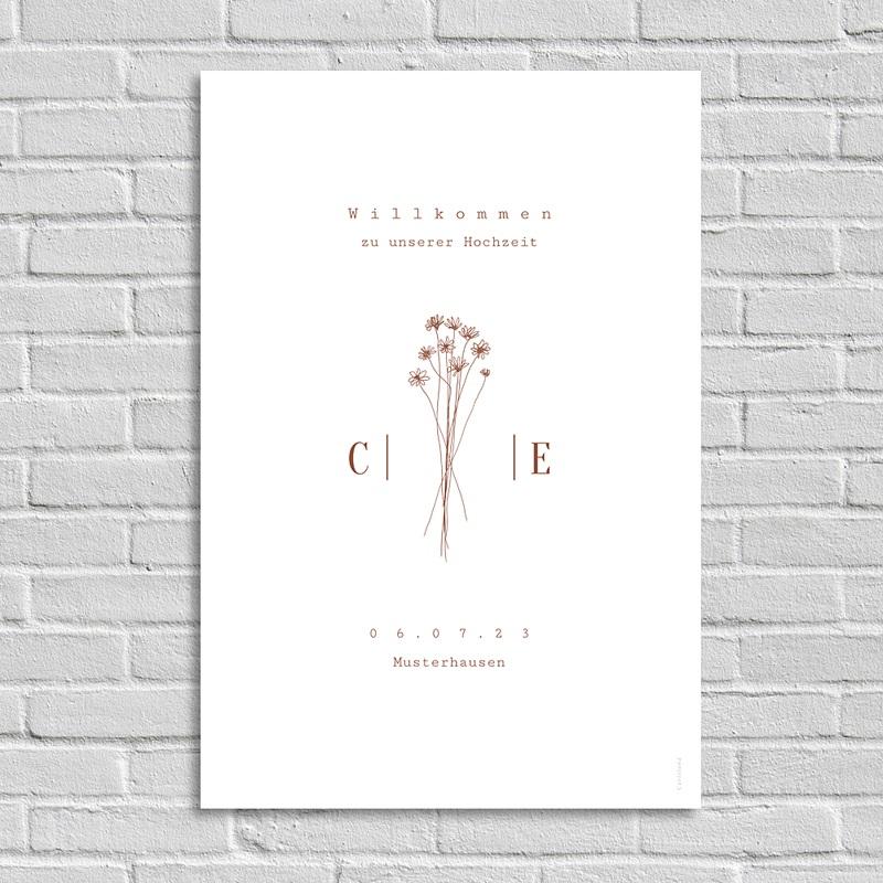 Begrüßungstafel Hochzeit Silhouette, Wiesenblumen, Willkommen Poster