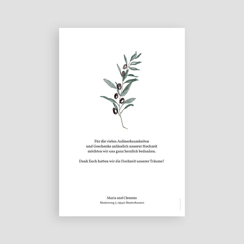 Dankeskarten Hochzeit Olivenzweig, Aquarell, 10 x 15 cm pas cher