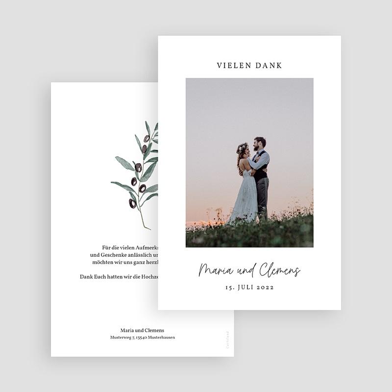 Dankeskarten Hochzeit Olivenzweig, Aquarell, 10 x 15 cm gratuit