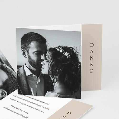 Dankeskarten Hochzeit Kirschbaum als Silhouette, überstehende Klappkarte