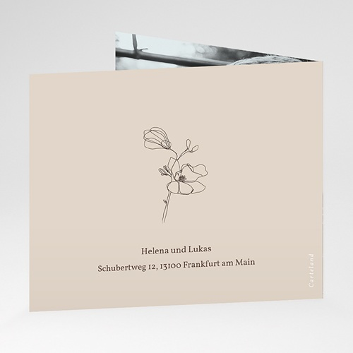 Dankeskarten Hochzeit Kirschbaum als Silhouette, überstehende Klappkarte gratuit