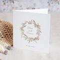 Hochzeitseinladungen Blumenkranz, Aquarell, Klappkarte, 14 x 14 cm