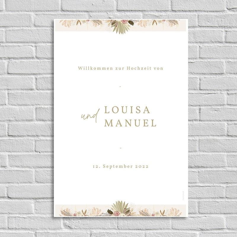 Begrüßungstafel Hochzeit Goldbogen, Willkommen Poster