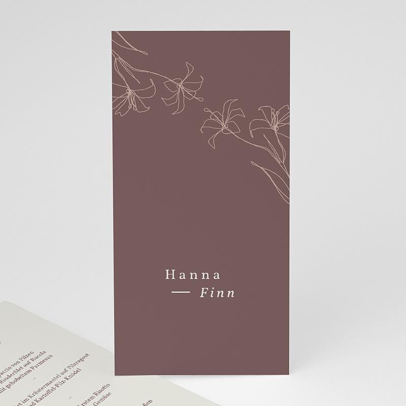 Menükarten Hochzeit Lilien, minimalistisch, Festessen