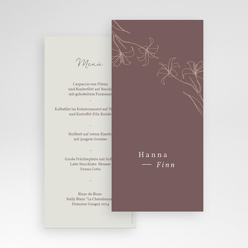 Menükarten Hochzeit Lilien, minimalistisch, Festessen pas cher