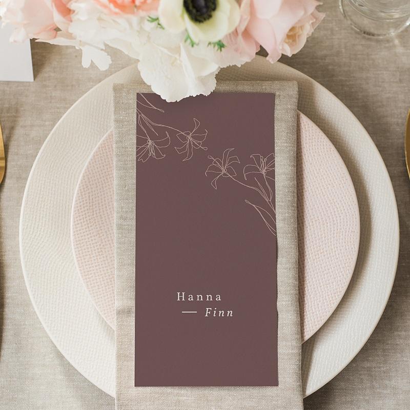 Menükarten Hochzeit Lilien, minimalistisch, Festessen gratuit
