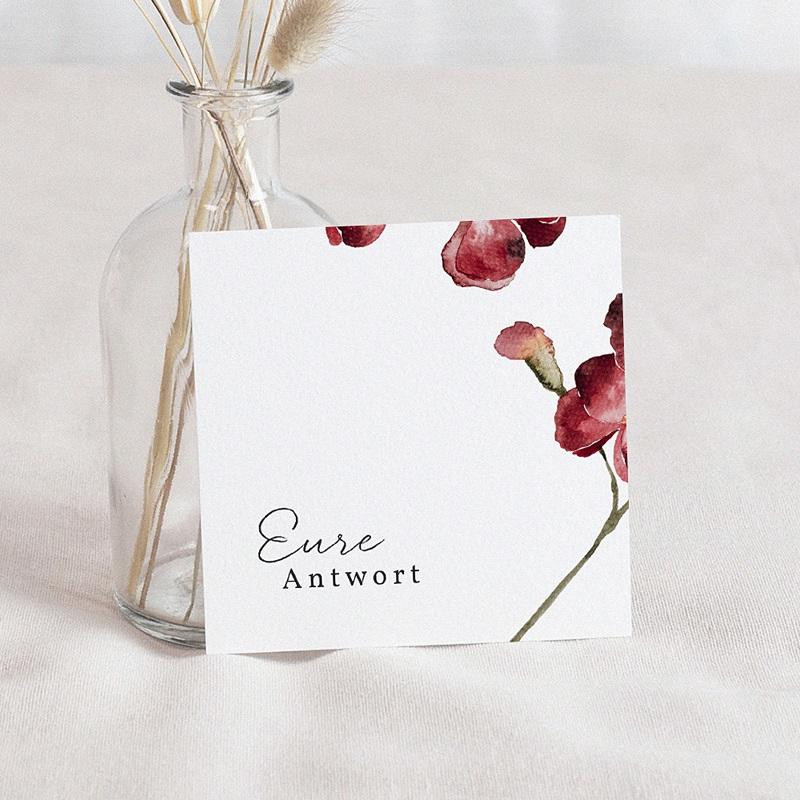 Antwortkarten Hochzeit Roter Blumenstrauß, Rückseite Beige, u.A.w.g