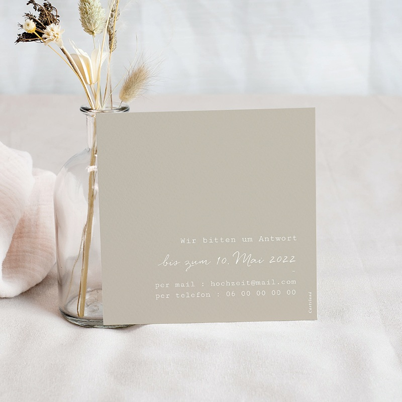 Antwortkarten Hochzeit Roter Blumenstrauß, Rückseite Beige, u.A.w.g pas cher