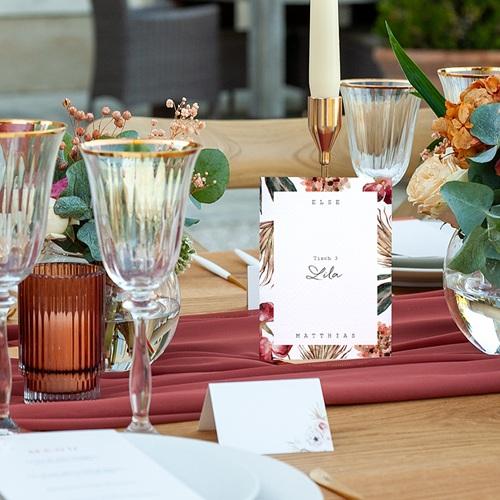 Tischnummer Hochzeit Roter Blumenstrauß, 3-er Satz pas cher