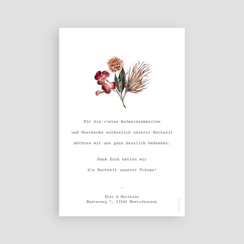 Dankeskarten Hochzeit Roter Blumenstrauß, Foto pas cher