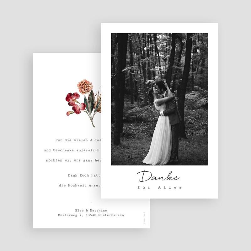 Dankeskarten Hochzeit Roter Blumenstrauß, Foto gratuit