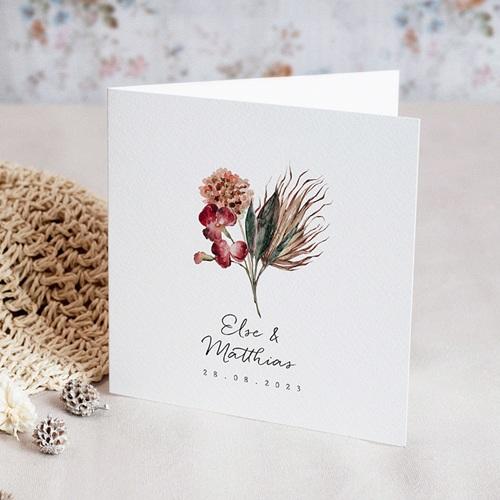 Hochzeitseinladungen Roter Blumenstrauß, Klappkarte