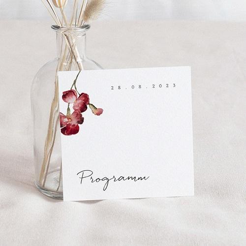 Einladungskarten Hochzeit Roter Blumenstrauß, Programm 10 x 10 cm