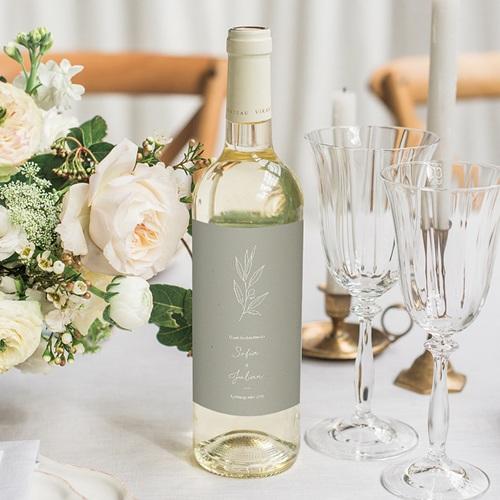 Flaschenetiketten Hochzeit Ölzweig, Papierstruktur, Wein