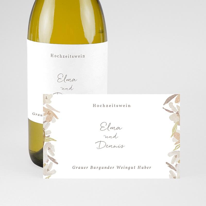 Flaschenetiketten Hochzeit Blumenkranz, Aquarell, Sekt pas cher