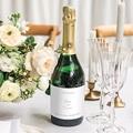 Flaschenetiketten Hochzeit Blumenkranz, Aquarell, Sekt gratuit