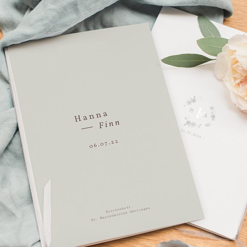 Kirchenheft Hochzeit Lilien, minimalistisch, Umschlag pas cher