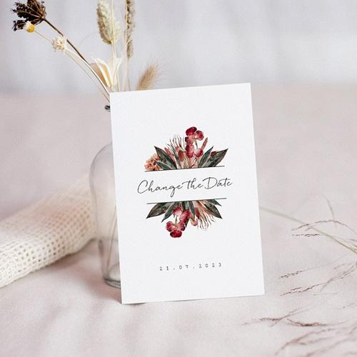 Change The Date Hochzeitskarten Roter Blumenstrauß, neues Datum