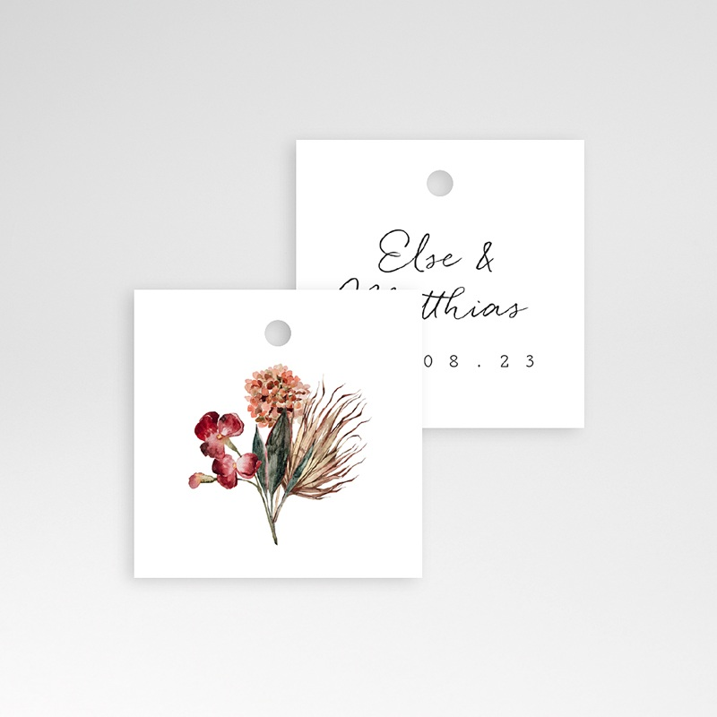 Geschenkanhänger Hochzeit Roter Blumenstrauß, 4 x 6 cm pas cher