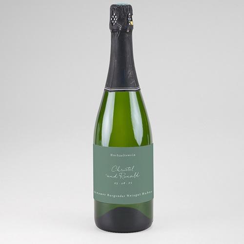 Flaschenetiketten Hochzeit Goldzweig Minimalistisch, Champagner