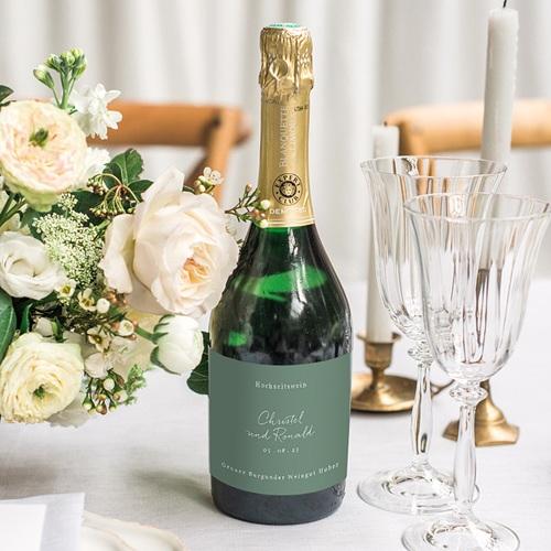 Flaschenetiketten Hochzeit Goldzweig Minimalistisch, Champagner gratuit