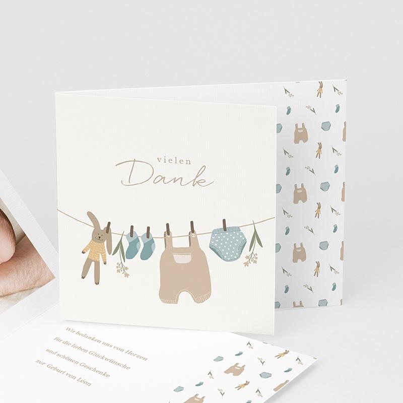 Dankeskarten Geburt Wäscheleine für Knaben, überstehende Klappkarte