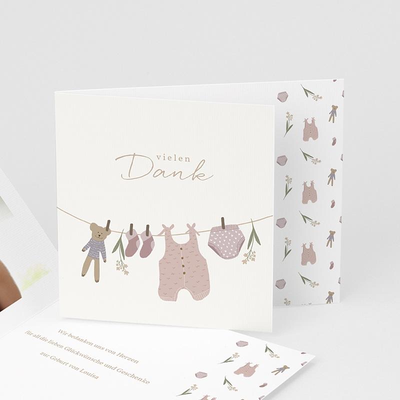 Dankeskarten Geburt Wäscheleine Rosa, überstehende Klappkarte