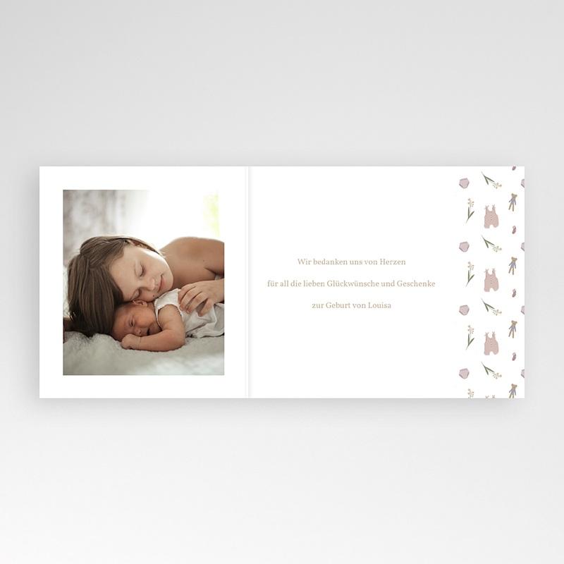 Dankeskarten Geburt Wäscheleine Rosa, überstehende Klappkarte pas cher