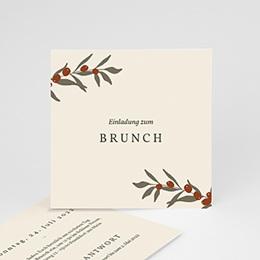 Einladungskarten - Olivenzweig, Boho, 10 x 10 cm - 0