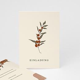 Einladungskarten - Boho Olivenzweig beige, Einladung - 0
